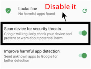 "disable the ""Scan device for security threats"