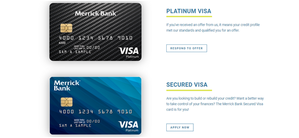 Types of Cards Merrick Bank offers