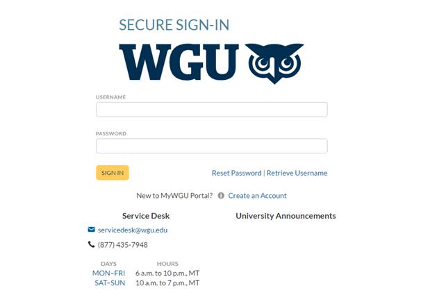 WGU login page